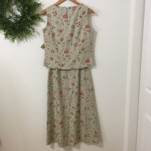 Laura Ashley 2 Pc Floral Embroidered Skirt/Top